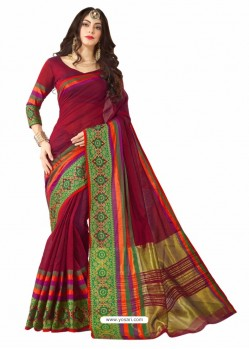 Maroon Silk Border Work Casual Saree