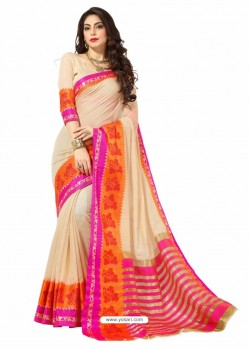 Cream Silk Border Work Casual Saree
