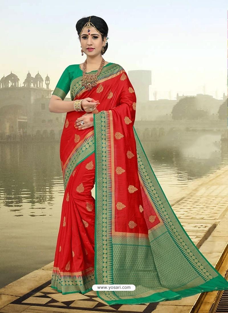 Observable Red Silk Zari Work Saree