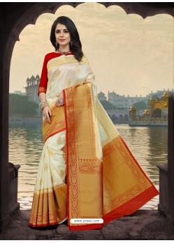 Excellent Off White Silk Zari Work Saree