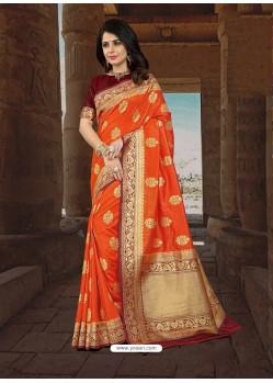 Desirable Orange Silk Zari Work Saree