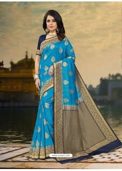 Phenomenal Blue Silk Zari Work Saree