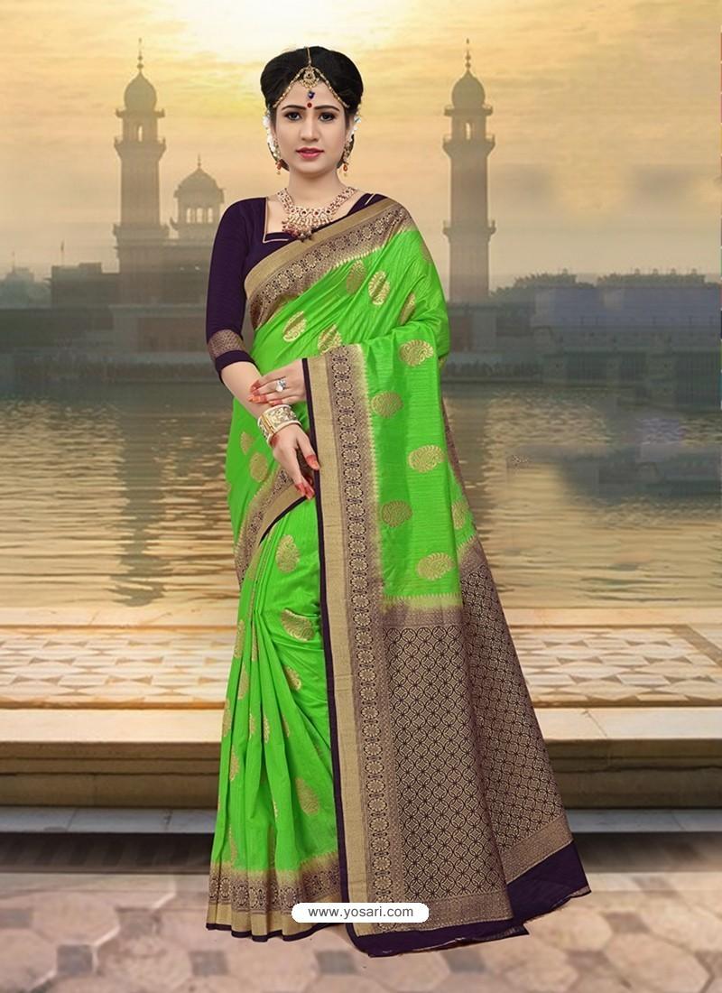 Markable Parrot Green Silk Zari Work Saree