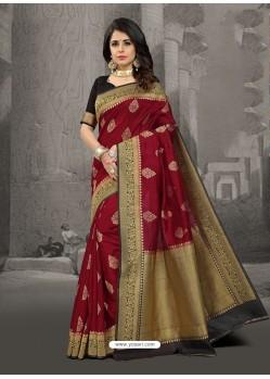 Affectionate Maroon Silk Zari Work Saree