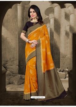 Adorable Orange Silk Zari Work Saree