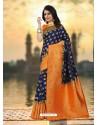 Perfect Navy Blue Silk Zari Work Saree