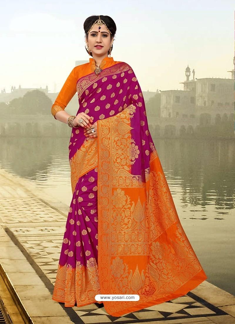 Genius Purple Silk Zari Work Saree