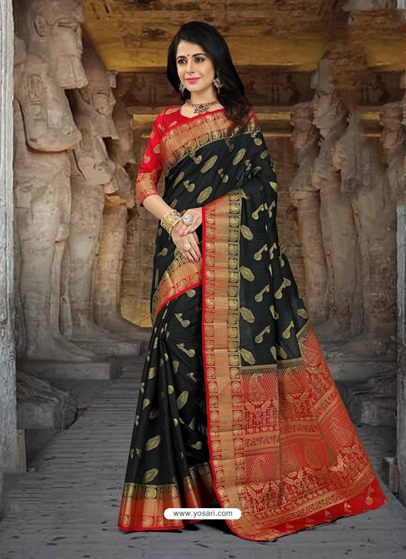Splendid Black Silk Zari Work Saree