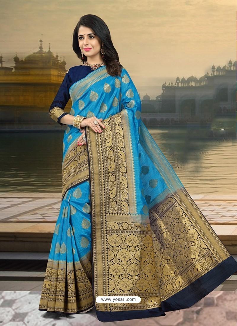 Fab Blue Silk Zari Work Saree