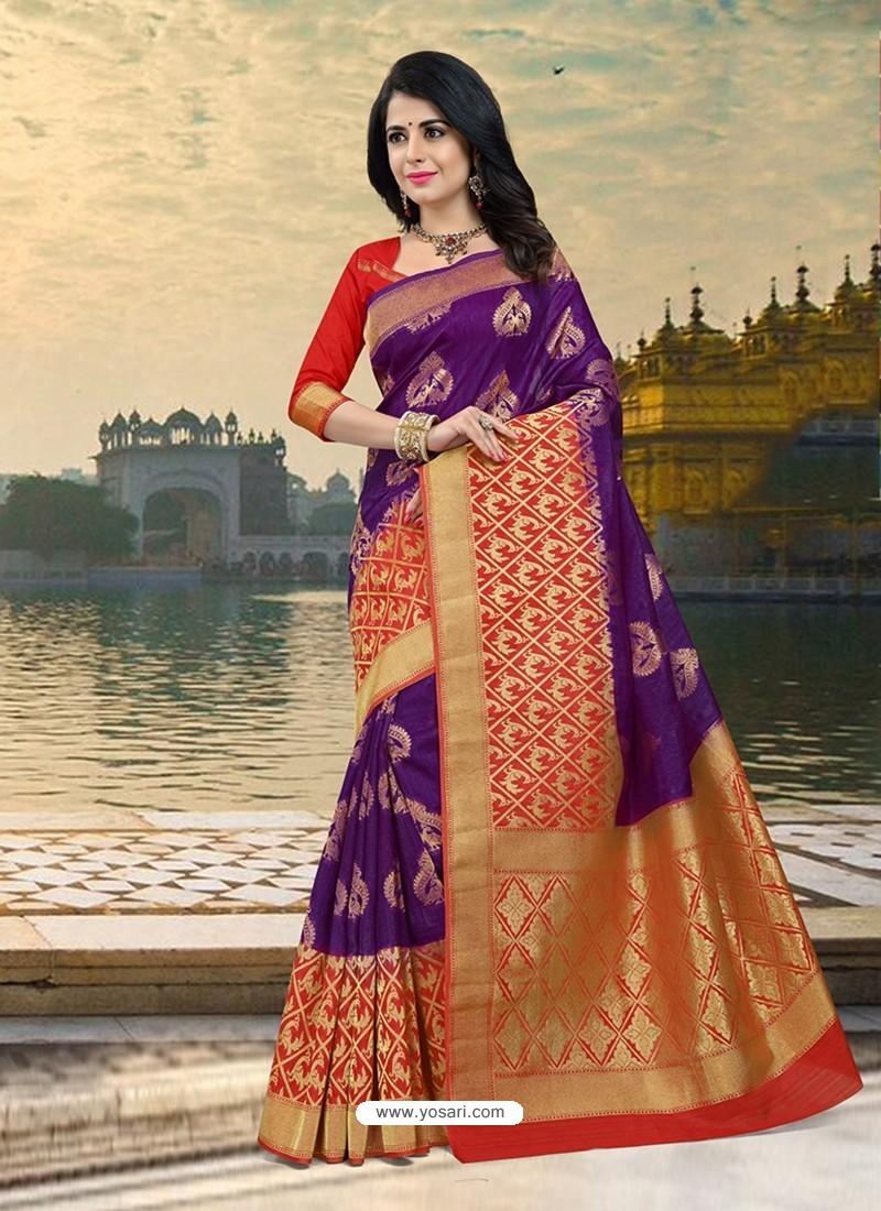 Glorious Violet Silk Zari Work Saree