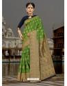 Lovely Green Silk Zari Work Saree