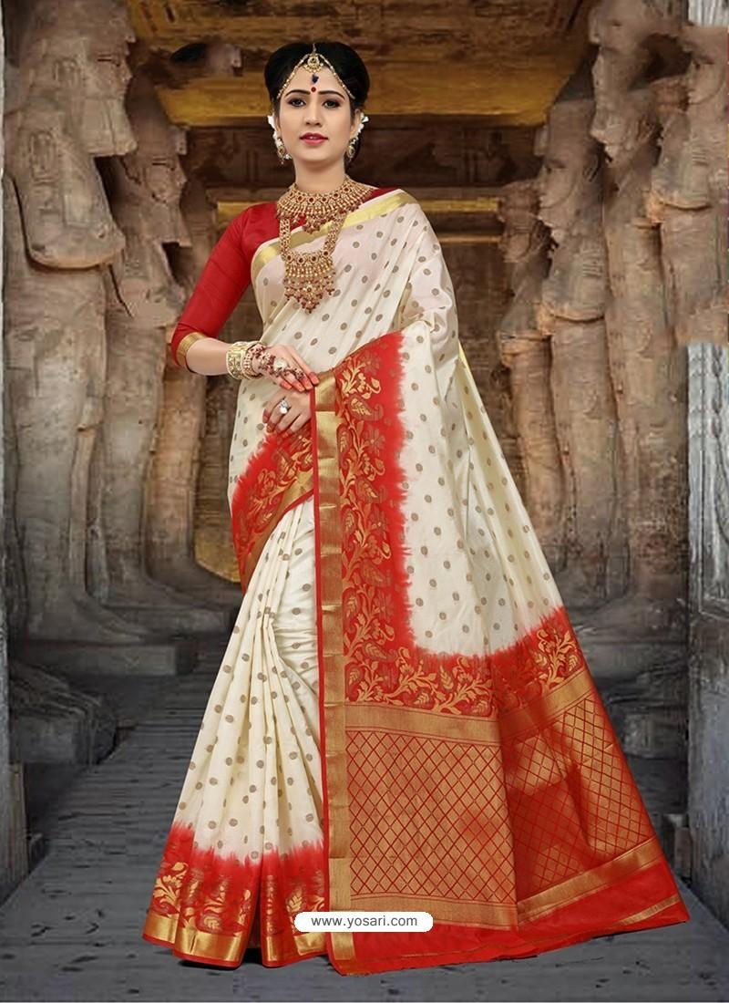 Imperial Off White Silk Zari Work Saree