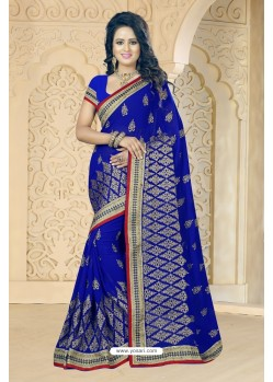 Perfect Royal Blue Georgette Embroidered Saree