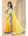 Observable Yellow Jacquard Embroidered Saree