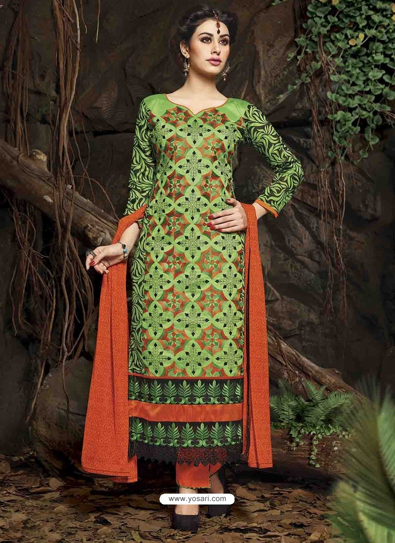 Green And Orange Chanderi Silk Salwar Kameez