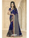 Desirable Navy blue Georgette Embroidered Saree