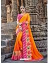 Incredible Orange Silk Border Work Saree