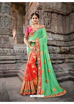 Magnificent Green Silk Border Work Saree