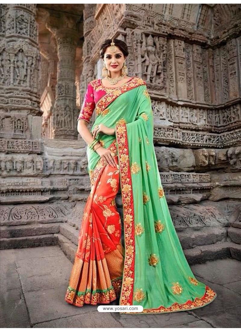 Magnificent Green Silk Border Work Saree