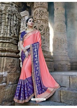Modern Peach Silk Border Work Saree
