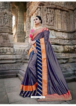 Fabulous Multi Colour Silk Border Work Saree