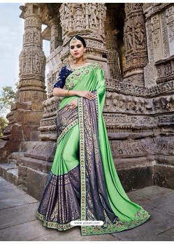 Lovely Sea Green Silk Border Work Saree