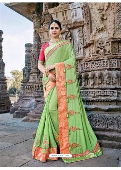 Decent Green Silk Border Work Saree