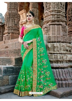 Dazzling Forest Green Silk Border Work Saree