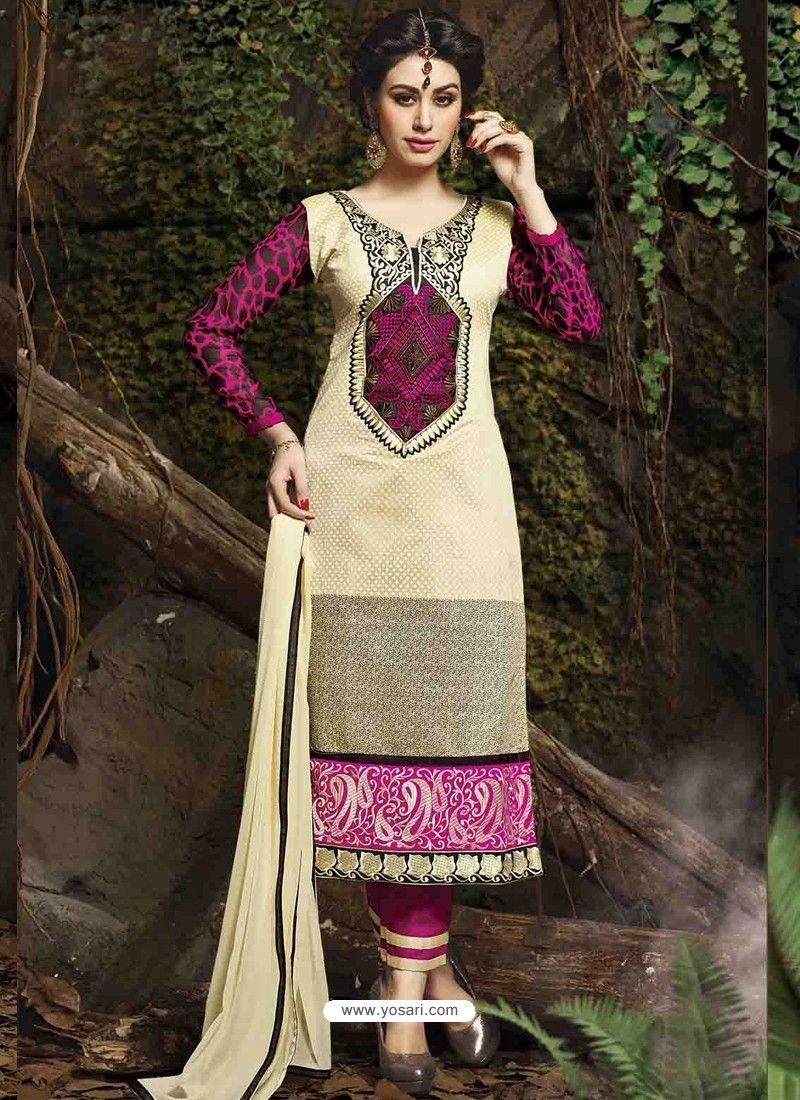 Cream And Pink Chanderi Silk Salwar Kameez