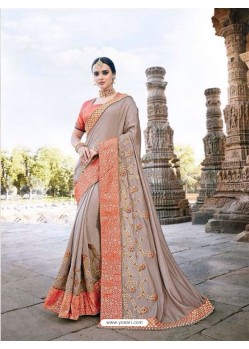 Imperial Peach Silk Border Work Saree