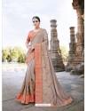 Imperial Peach Silk Border Work Saree