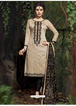 Cream And Black Chanderi Silk Churidar Suit