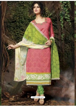 Pink Chanderi Silk Churidar Suit