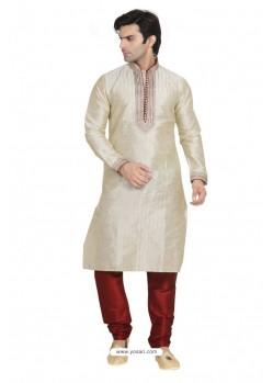 Stylish Off White Dupion Kurta Pajama