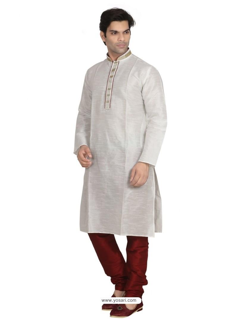 White Dupion Kurta Pajama