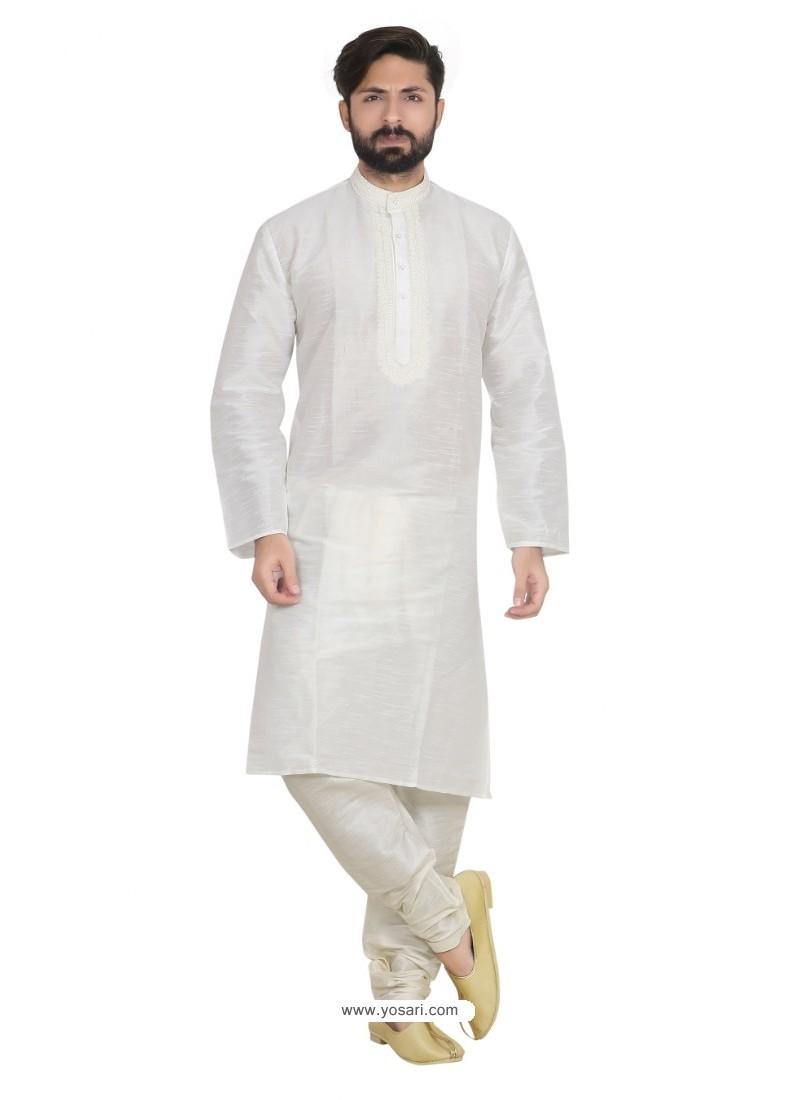 White Dupion Designer Kurta Pajama