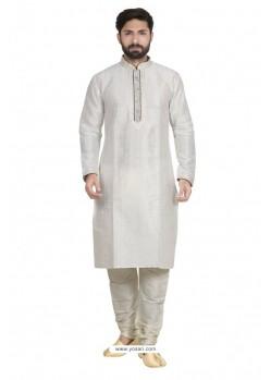 Impressive White Dupion Kurta Pajama