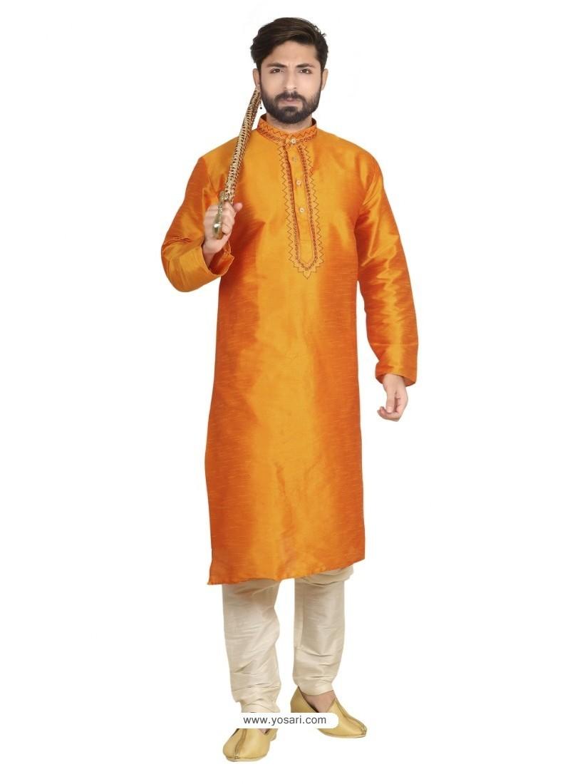 Superb Orange Dupion Kurta Pajama