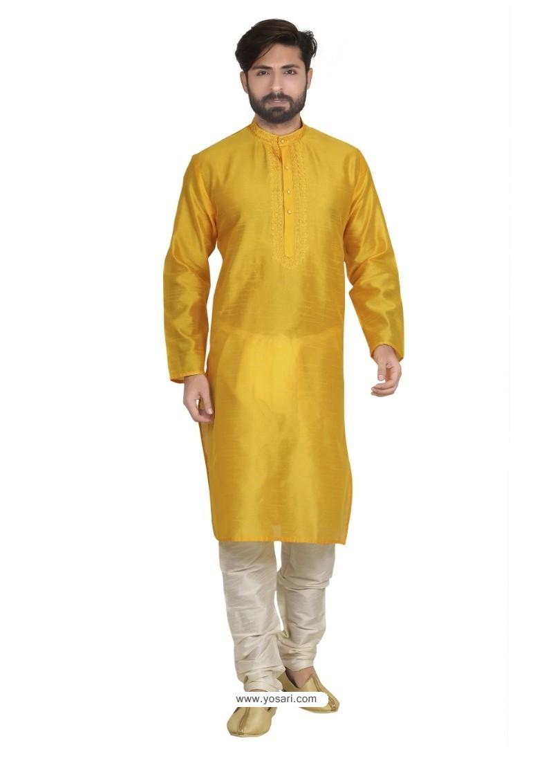 Classic Yellow Dupion Kurta Pajama