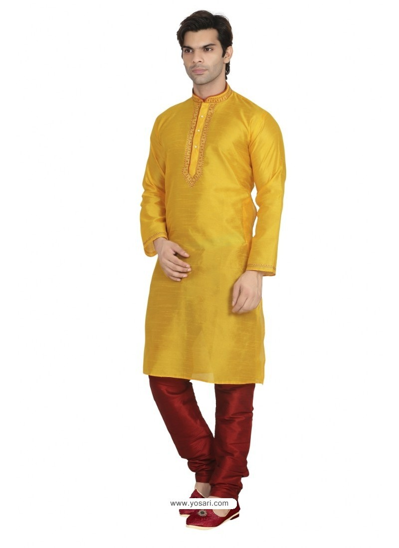 Yellow Dupion Kurta Pajama