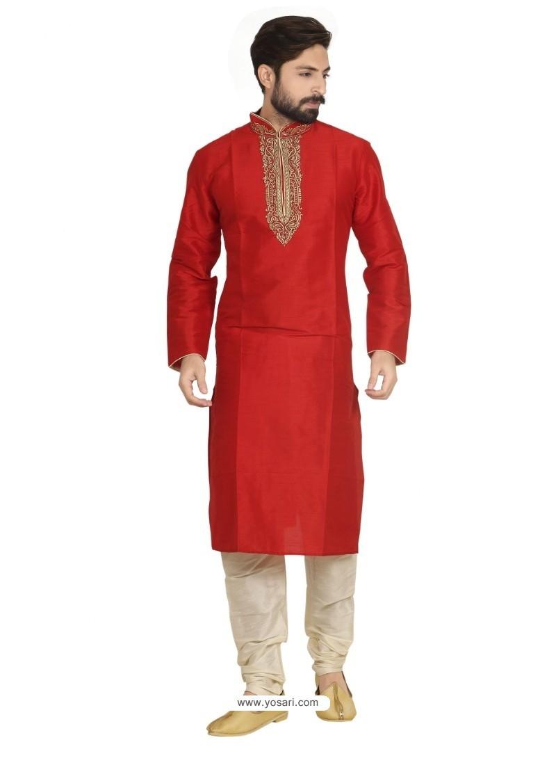 Red Dupion Kurta Pajama