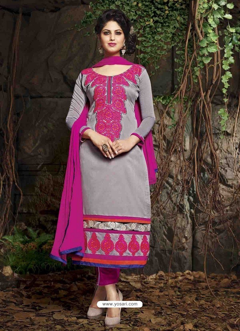 Grey And Pink Chanderi Silk Salwar Kameez
