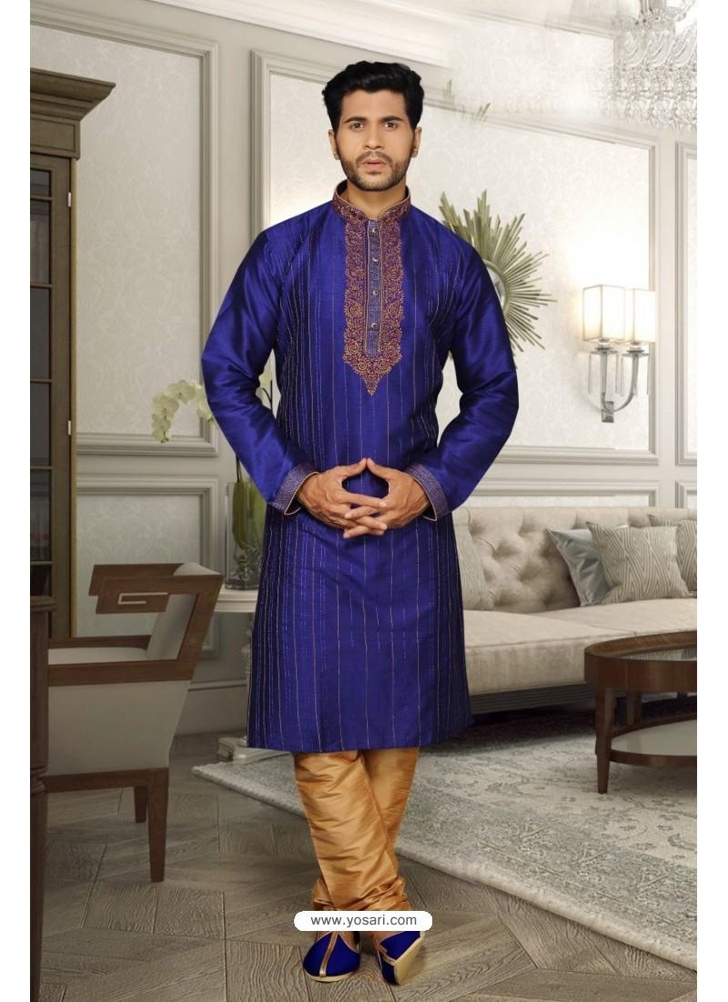 Royal Blue Dupion Kurta Pajama