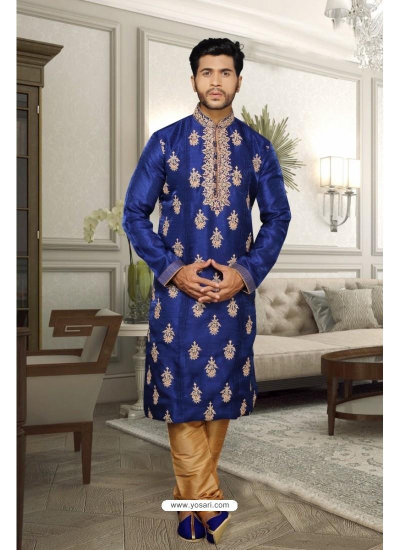 Royal Blue Plain Silk Kurta Pajama