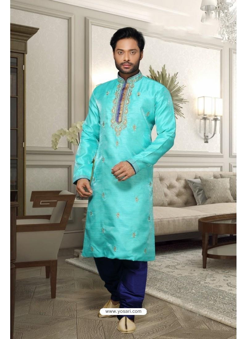 Sky Blue Silk Kurta Pajama