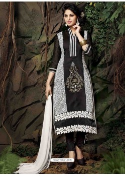 Black Chanderi Silk Salwar Kameez