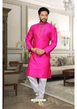 Pink Dupion Kurta Pajama