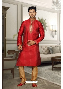 Red Jharna Kurta Pajama