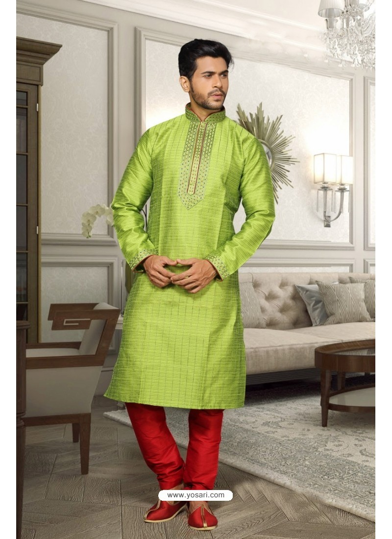 Parrot Green Jharna Kurta Pajama