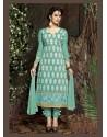 Turquoise Chanderi Silk Salwar Kameez